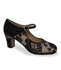 Chaussure de flamenco professionnelle noire et blanche avec dentelle