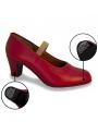 Chaussures Flamenco en Cuir avec Clous rouge