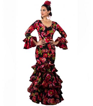Robe De Flamenco Avec Noir Et Fleurs 2020 El Rocio Mode